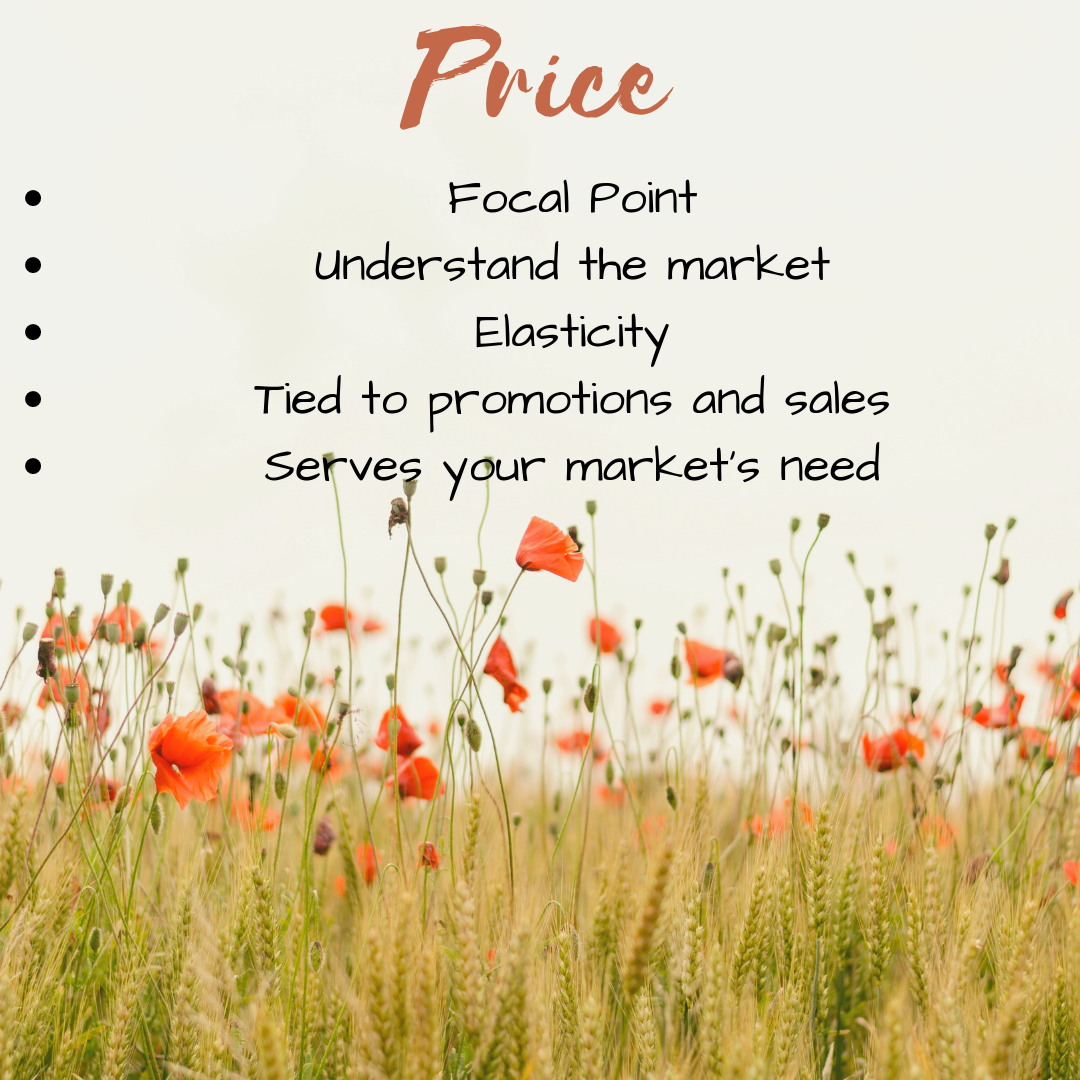 Price is one of the 4P's in the marketing mix.