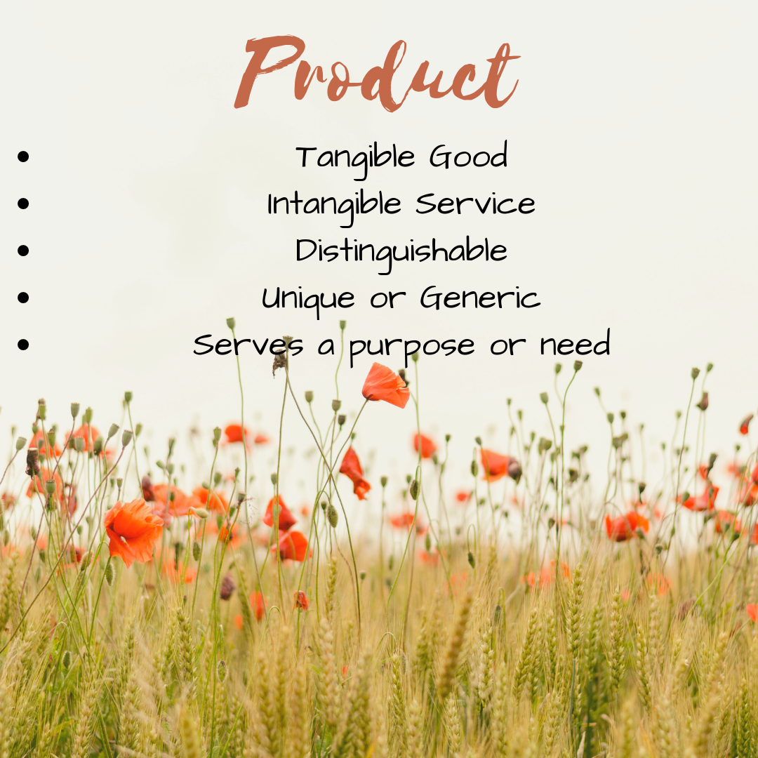 Product is one of the 4P's in the marketing mix.